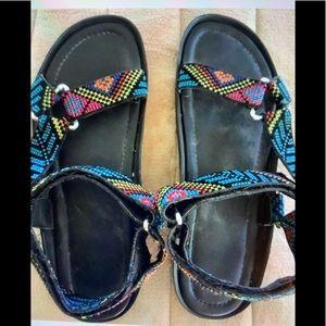 NO BRAND JACQUARD Black Webbing Sandals
